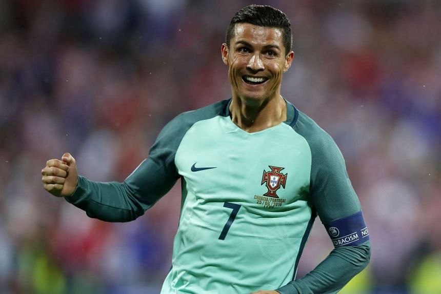 Cristiano Ronaldo celebrates their goal during the Uefa Euro 2016 round of 16 match between Croatia and Portugal at Stade Bollaert-Delelis, on June 25, 2016.