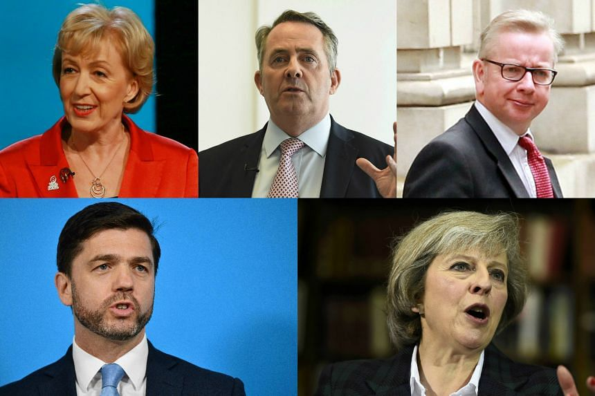 The five Conservative candidates are vying to replace British Prime Minister David Cameron: (Clockwise from top left) Andrea Leadsom, Liam Fox, Michael Gove, Theresa May and Stephen Crabb.