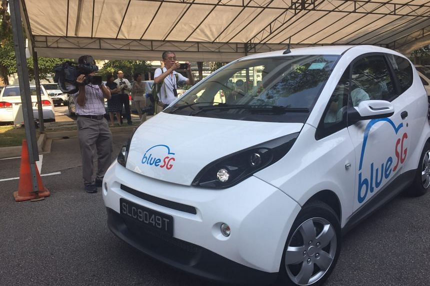 An electric car under BlueSG, which has been signed to operate the electric car fleet in Singapore under the islandwide Electric Vehicle (EV) Car-Sharing Programme.