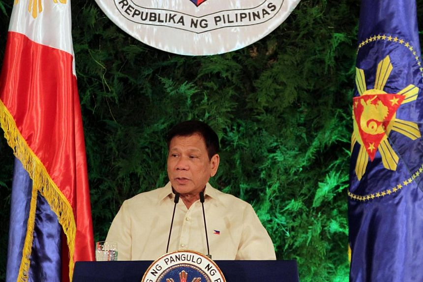 President Rodrigo Duterte delivers his inaugural speech as the President of the Philippines at the Malacanang Palace in Manila.