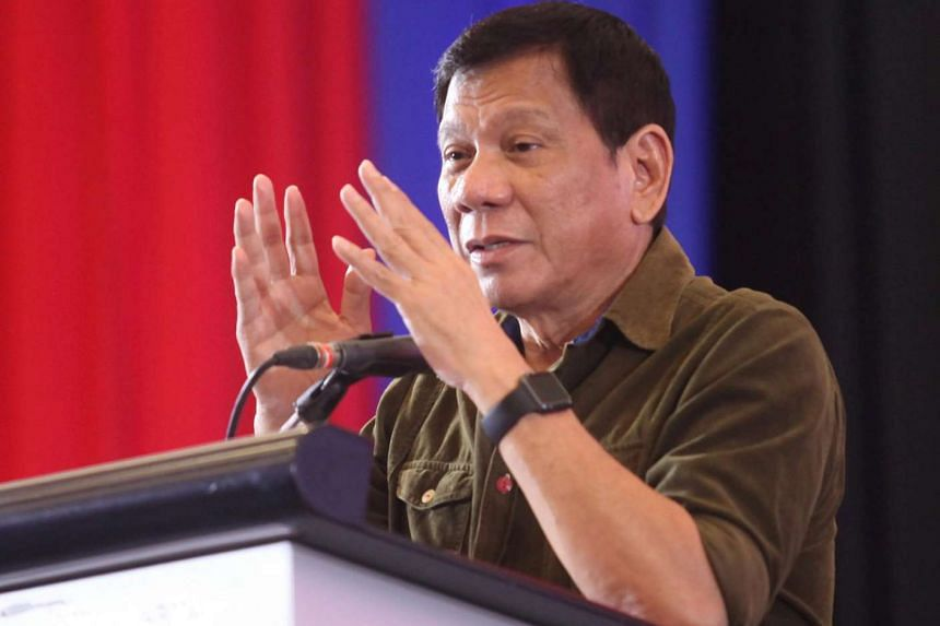 Mr Rodrigo Duterte speaks during a conference with businessmen in Davao city, southern Philippines, June 21.