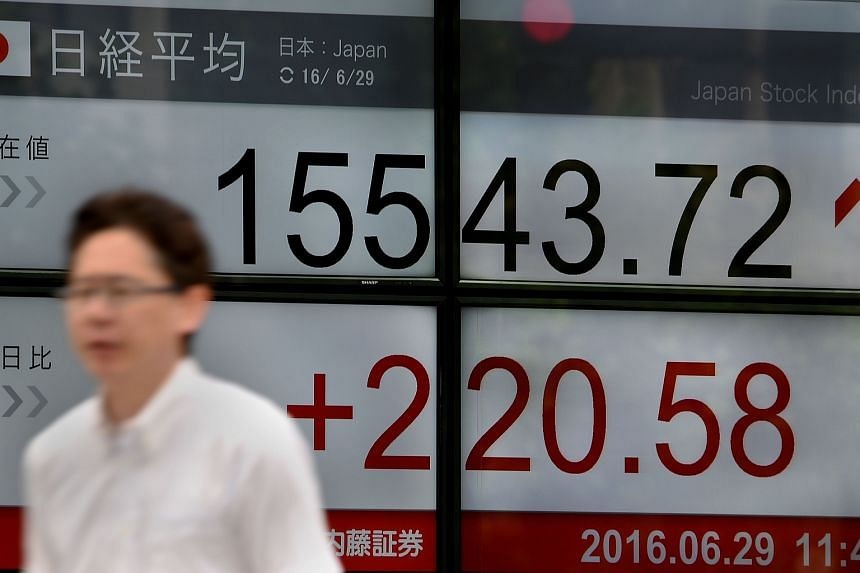 An electronic board flashing the Nikkei key index in Tokyo on June 29, 2016.