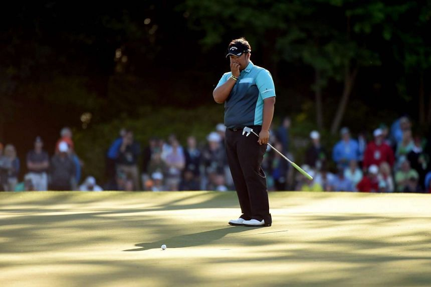 Thongchai Jaidee of Thailand during the third round of the 2016 Masters Tournament at Augusta National Golf Club on April 9, 2016.