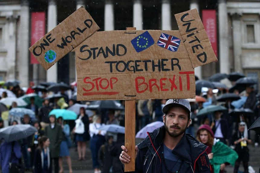 A demonstrator holds up a placard saying Stand together Stop Brexit at an anti-Brexit protest in Trafalgar Square in central London on June 28.