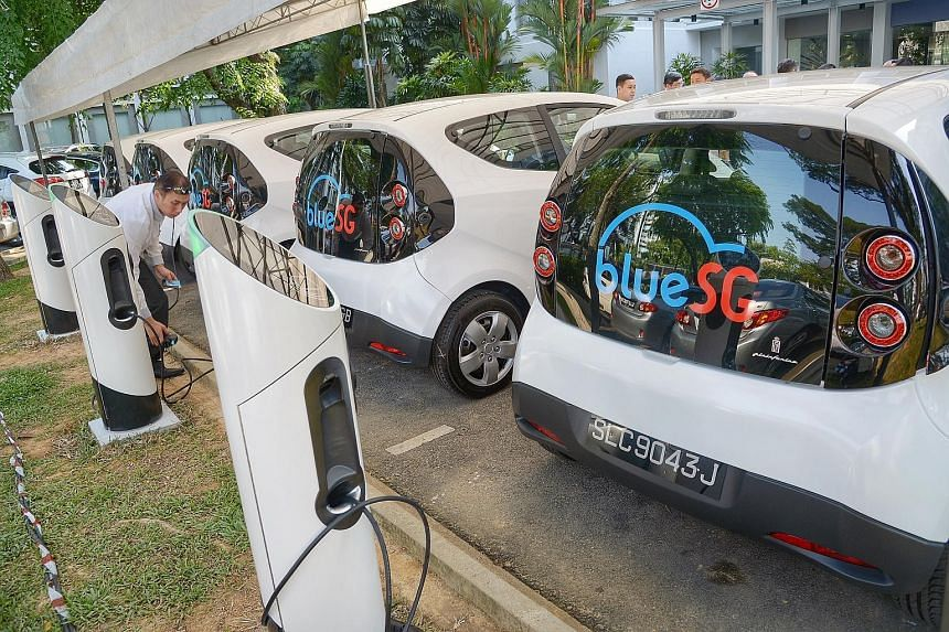 BlueSG Electric cars and charging points at LTA headquarters in Hampshire Road. Ang Mo Kio, Jurong East and Punggol will be among the first HDB towns to have a total of 50 EV stations and 250 charging points installed. The fleet is expected to grow t