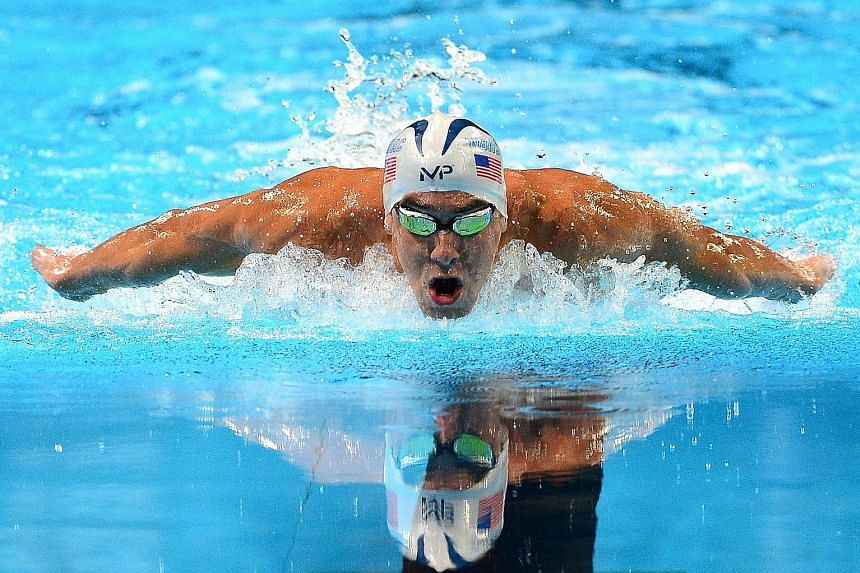 """Michael Phelps on his way to winning the 200m butterfly at the US trials in Omaha, Nebraska on Wednesday. The American said the closing stage of his winning time of 1:54.84 was an """"awful"""" performance."""