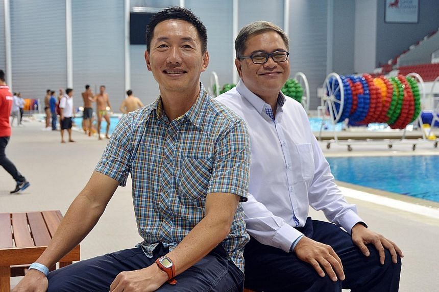 Former national water polo players Wilson Ang (left) and Samson Tan are the new additions to the SSA executive committee.