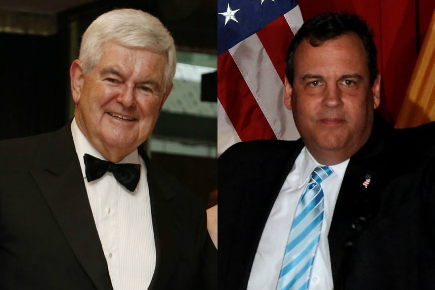Former House speaker Newt Gingrich (left) and New Jersey Governor Chris Christie.
