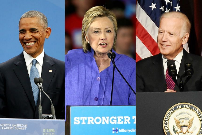US President Barack Obama (left) will join Democratic White House hopeful Hillary Clinton (centre) on the campaign trail for the first time next week, days before Vice-President Joe Biden (right) also stumps with her.