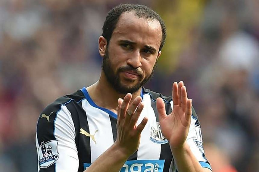 Andros Townsend applauds supporters on the pitch after the English Premier League football match between Aston Villa and Newcastle United on May 7, 2016.