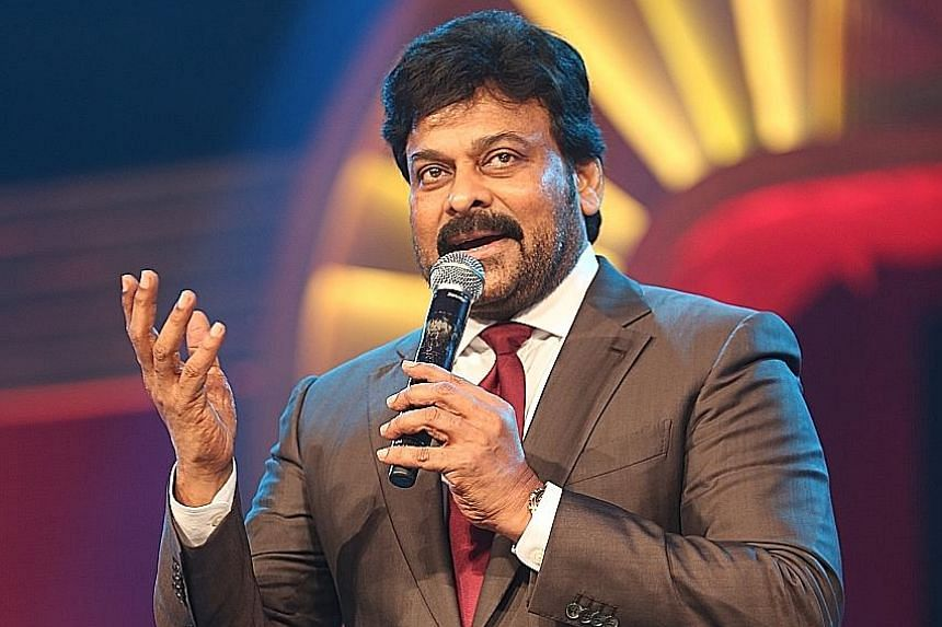 Actress Shruti Haasan (left) and actor Chiranjeevi (above) were among the stars at the South Indian International Movie Awards in Singapore.