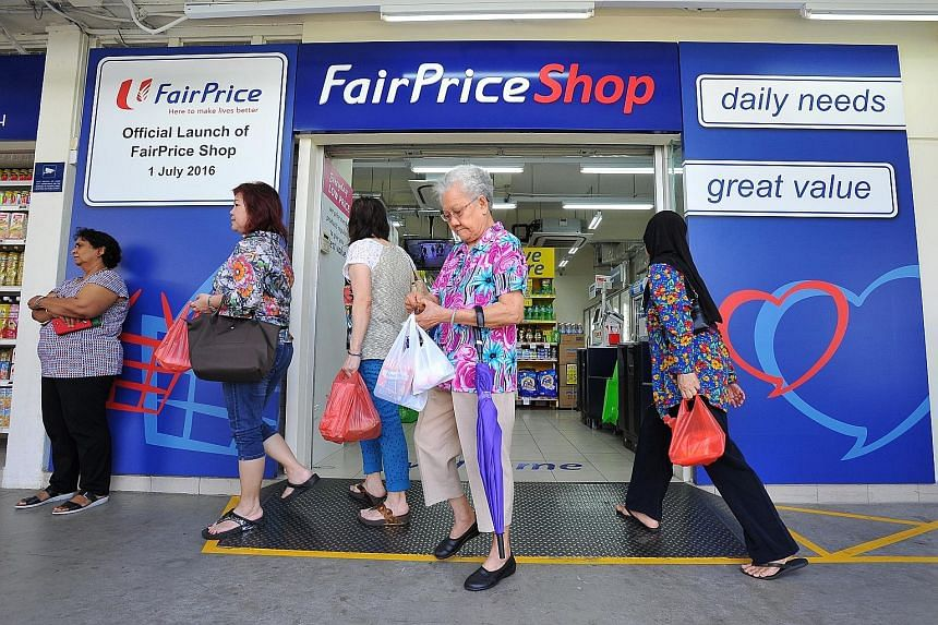 The FairPrice Shop in Eunos is one of two - the other is in Circuit Road - which opened yesterday. Products that offer greater value will take up half the store space, compared to 20 per cent of the space in a typical FairPrice supermarket.