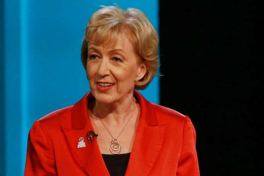 "Andrea Leadsom speaks during ""The ITV Referendum Debate"" at the London Television Centre in Britain, on June 9, 2016."