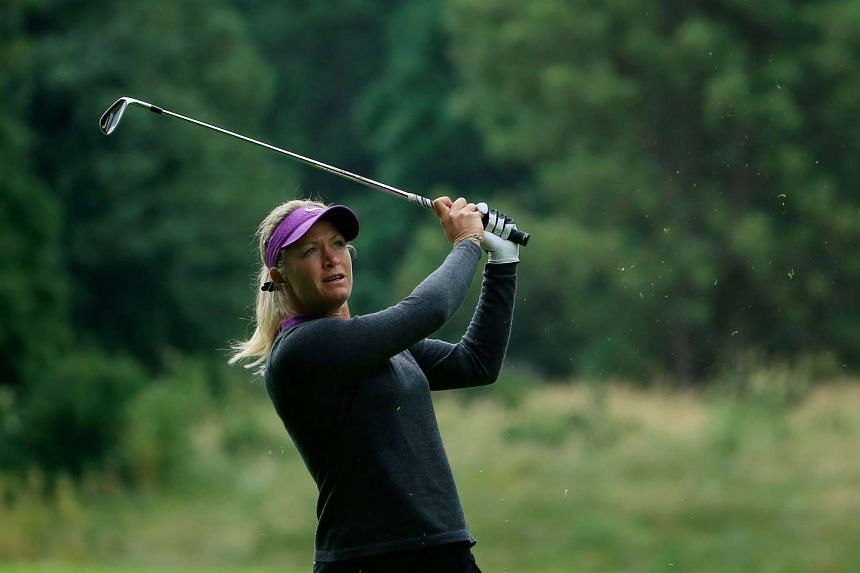 Suzann Pettersen hits her second shot on the 14th hole at the second round of the Cambia Portland Classic, on July 1, 2016.