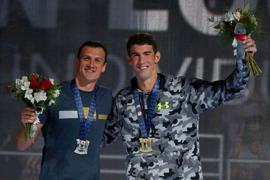Michael Phelps (right) and Ryan Lochte at the medal ceremony for the Men's 200m individual medley of the 2016 US Olympic Team Swimming Trials on July 1, 2016.