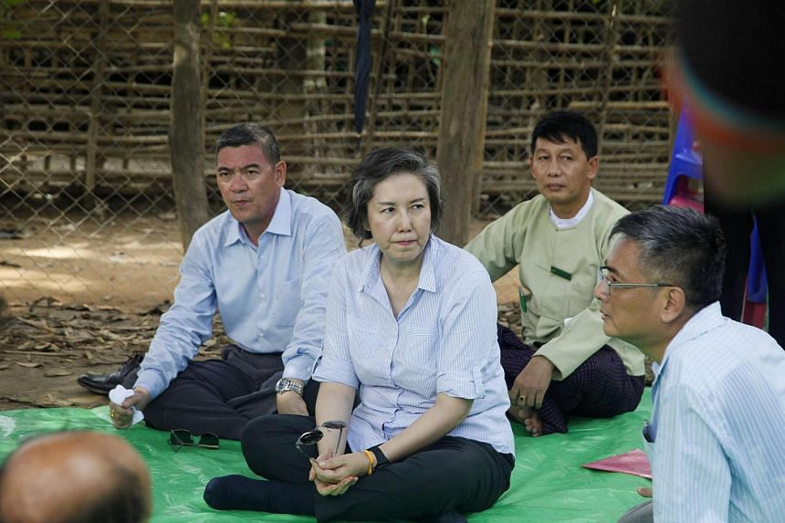 United Nations rights investigator Yanghee Lee meets with displaced Mro ethnics, a sub ethnic of Rakhine, during her 12-day trip to Myanmar.