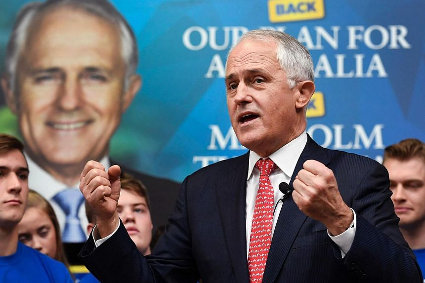 Australia's Prime Minister Malcolm Turnbull speaks at a campaign event in Sydney on July 1 as Australia's leaders make last-gasp pitches to wow voters with polls on the eve of elections pointing to a cliffhanger.