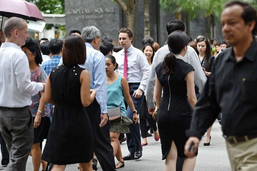 Office workers during lunch time at Raffles Place.