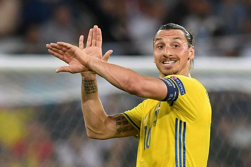 Zlatan Ibrahimovic at a Euro 2016 training session for Sweden.
