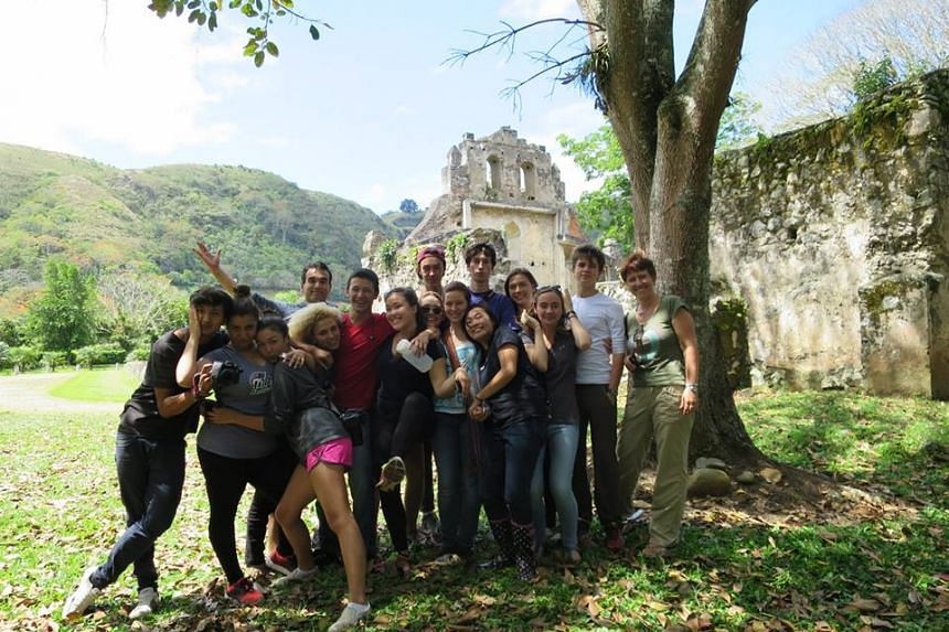 Yuan Kelly (front row, second from right), with her classmates from Think Global School at the Ujarrás ruins in Orosi, Costa Rica.
