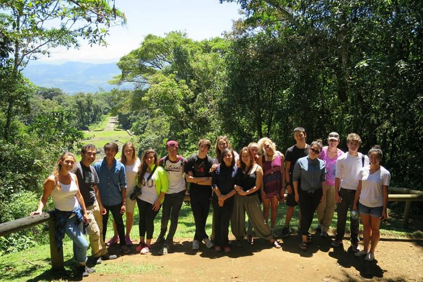 Students from Think Global School at the Ujarrás ruins in Orosi, Costa Rica.