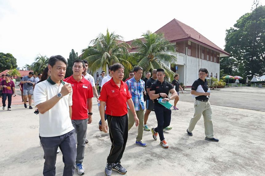 (From left) NParks Chief Executive Kenneth Er, MP for Sembawang GRC Lim Wee Kiak and Coordinating Minister for Infrastructure & Minister for Transport Khaw Boon Wan visit the premises of the upcoming integrated sports and community hub in Sembawang o