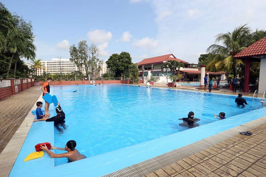 Children having swimming lessons in the premises of the upcoming integrated sports and community hub in Sembawang on July 3, 2016.