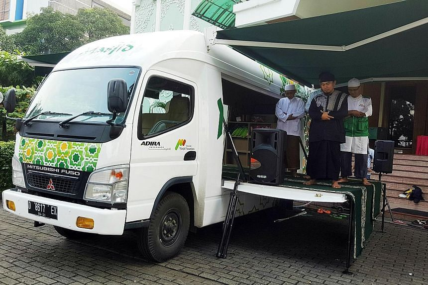 Mobile Masjid, which hit Jakarta roads last Tuesday, is a truck that has been converted into a Muslim prayer space for 20 people and is equipped with prayer mats and ablution facilities. The mobile mosque, the second of its kind in Indonesia, is aime