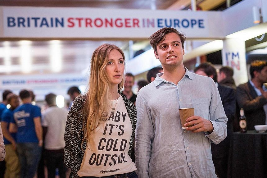 Supporters of the Stronger In campaign in dismay as results of the EU referendum were announced at the Royal Festival Hall in London early in the morning of June 24.