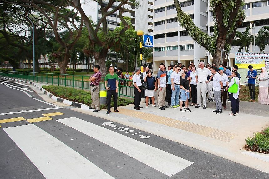ESM Goh and Mrs Teo yesterday unveiled the eighth and latest Silver Zone, this one at Marine Crescent and Marine Terrace. It has features to slow traffic down to make it safer for elderly pedestrians to cross the road.