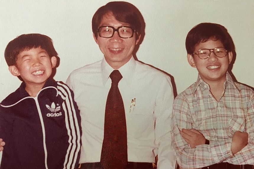 Mr Koh (right) at a younger age with his father, Professor Tommy Koh, and his brother Aun.