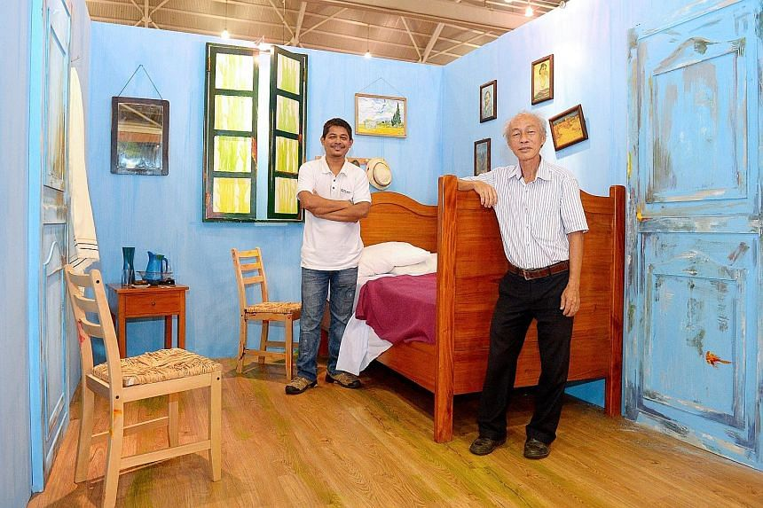 The 3D replica of Van Gogh's Bedroom in Arles (below) at the art exhibition-cum-furniture show at Singapore Expo Hall 6. Mr Lee Choon Kee (right ) provided the artistic direction for the 3m by 5m reconstruction, while Fullhouse graphic designer Nay T