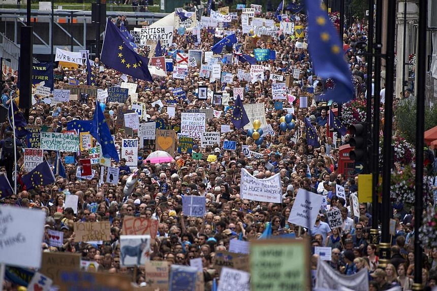 Protesters in London holding up pro-Europe placards and European flags as they marched from Park Lane to Parliament Square yesterday.