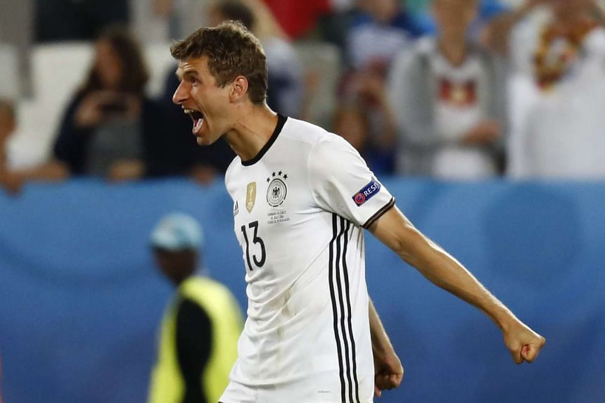 Germany's Thomas Muller celebrates after the game.