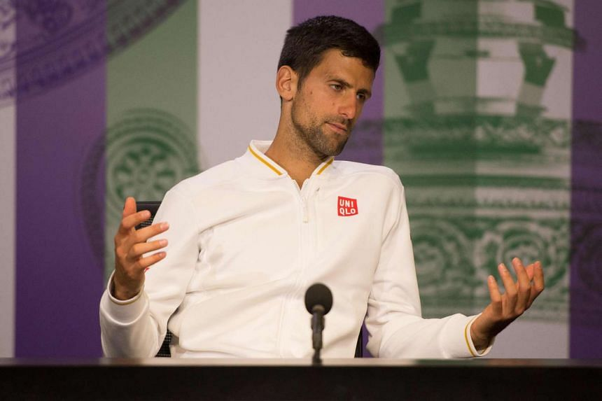 Djokovic talks during a press conference after being defeated by US player Sam Querrey.