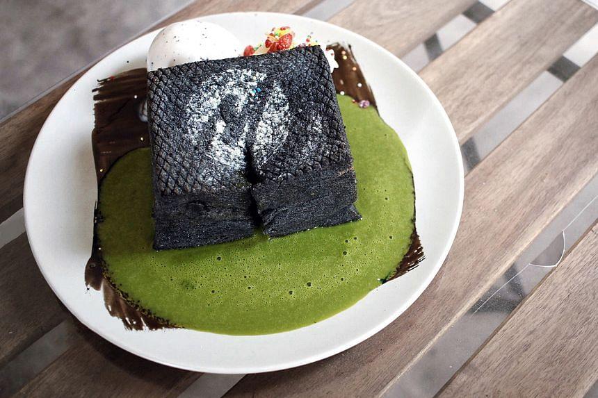 Charcoal Toast with Thai Green Milk Tea.