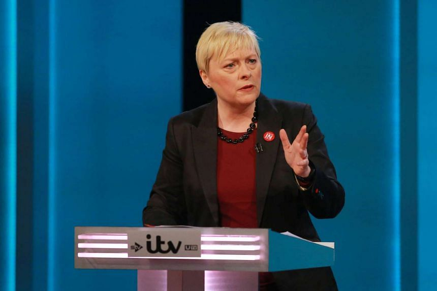 """Angela Eagle speaks at the """"The ITV Referendum Debate"""" at the London Television Centre in Britain, on June 9, 2016."""