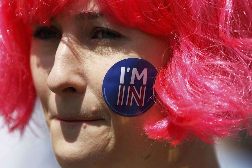 A pro-EU woman participating in the 'March for Europe' demonstration in London on July 2, 2016 against Britain's decision to leave the European Union.