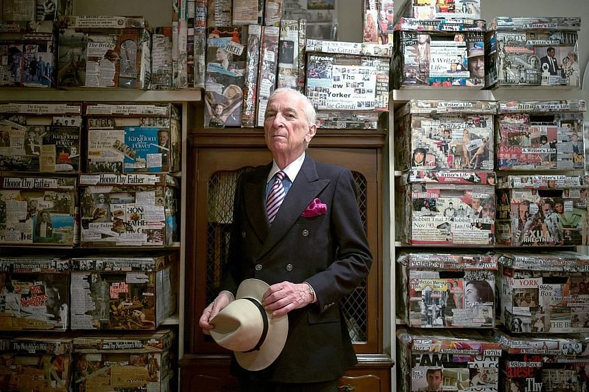 Author Gay Talese withresearch materials in the basement of his home in New York. His book, The Voyeur's Motel, to be published later this month, follows a Colorado motel owner who spied on his guests for years.