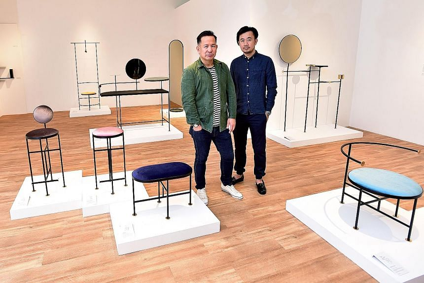 Designer Nathan Yong (left, with his Grafunkt co-founder Jefery Kurniadidjaja) with his capsule furniture collection Constellation.