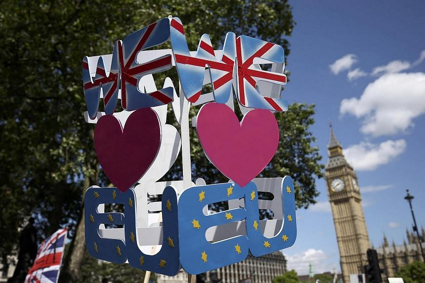 A banner is held up during a demonstration against Britain's decision to leave the European Union, in central London, Britain, on July 2.