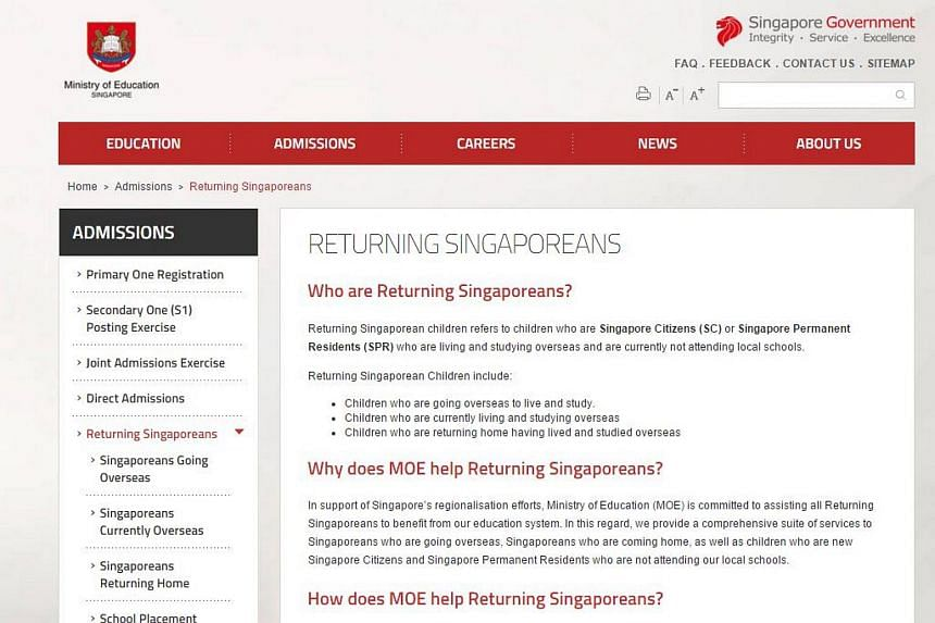 A screengrab of the section on the Ministry of Education's website for returning Singaporeans.