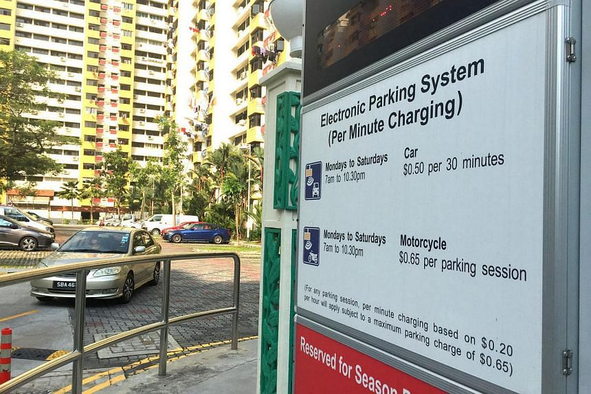 A sign board on the parking rates at a carpark.