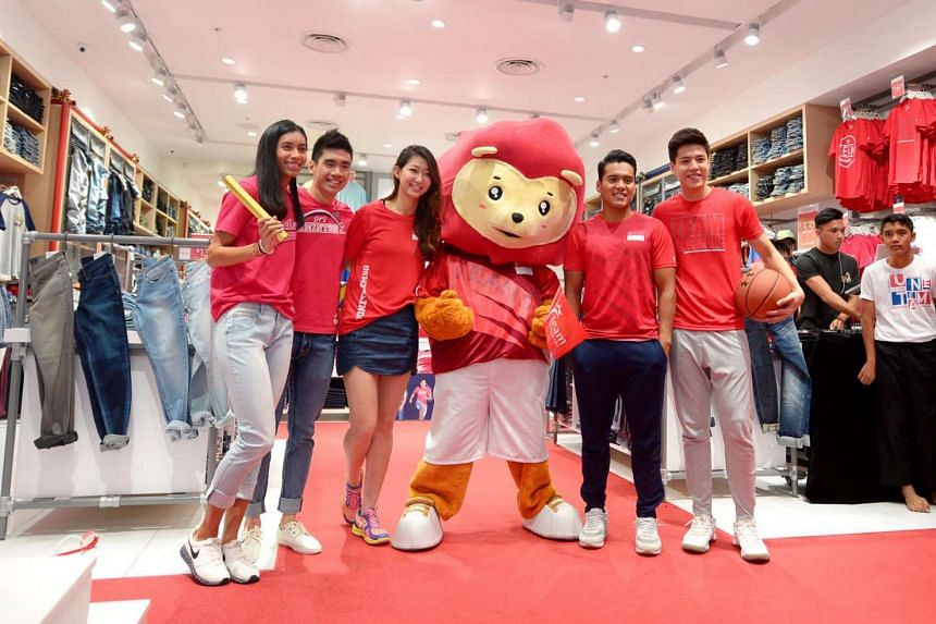 Team Singapore athletes at the dENiZEN Team Singapore apparel campaign launch at Jurong Point, on July 5, 2016.