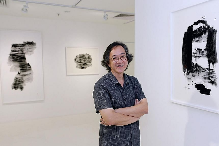 Artist Oh Chai Hoo (above) with one of his works, The Gate (2016, right)