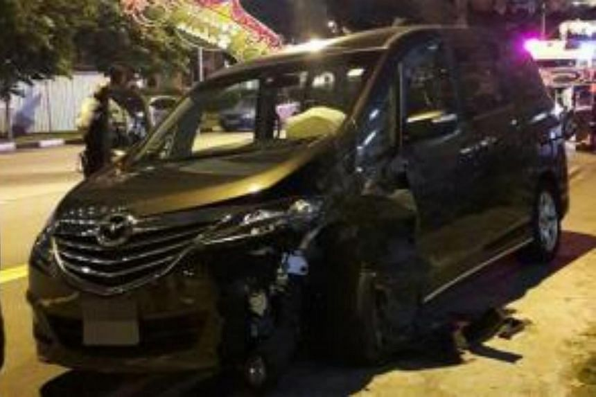 A 59-year-old man crashed his car into a pole with Hari Raya decorations on it in Geylang Serai on July 5, 2016.