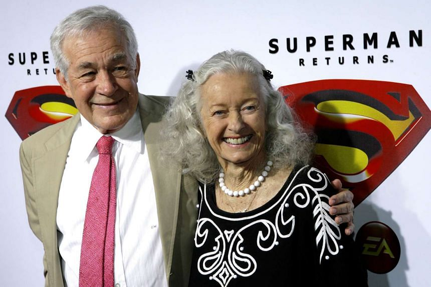 Actors Jack Larson and Noel Neill (right) at the Superman Returns DVD and video game launch party, on Nov 16, 2006.