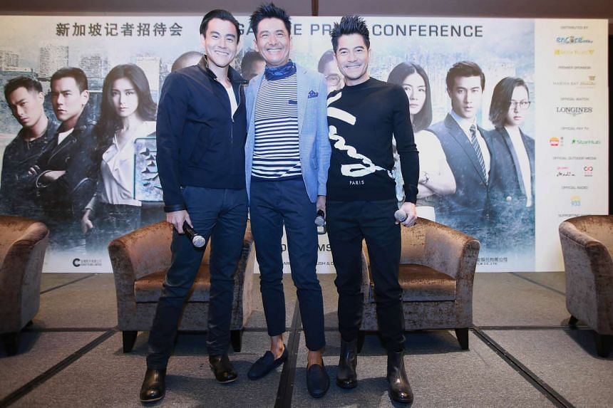 (From left) Eddie Peng, Chow Yun Fat and Aaron Kwok at the press conference of the highly anticipated new movie Cold War 2, on July 5, 2016.