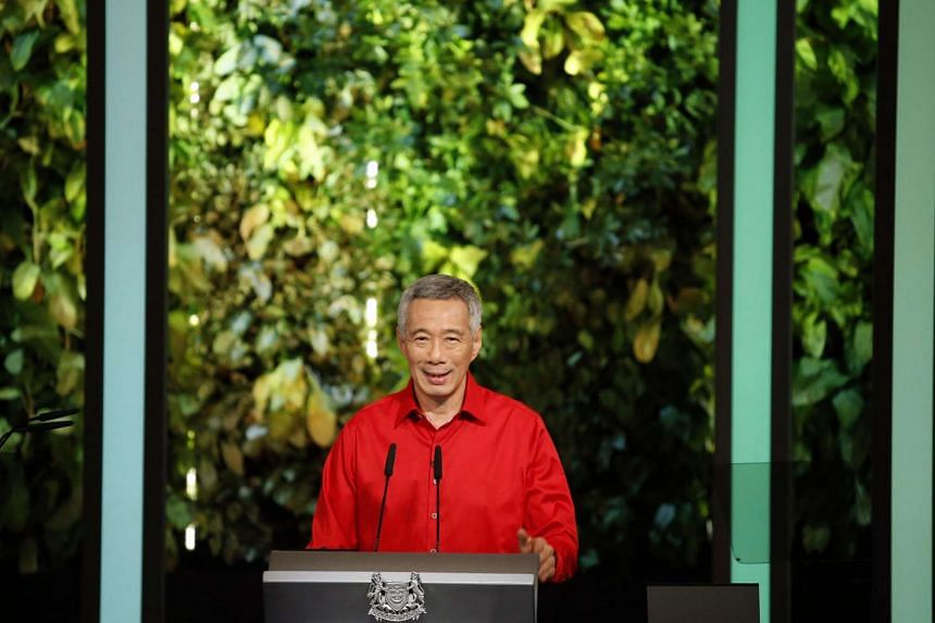 Prime Minister Lee Hsien Loong delivering the National Day Rally speech in ITE College Centre on Aug 23, 2015.