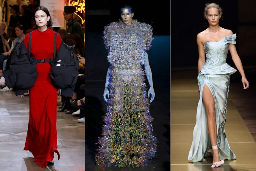 Varied collections: (From left) A jacket by Vetements; a futuristic outfit by Yuima Nakazato; and a gown with a thigh-high slit by Donatella Versace.